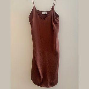Aritzia: Bronze Wilfred Slip Dress